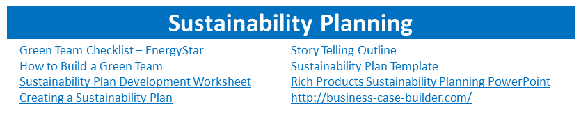 Sustainability Planning menu